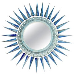 Large Sunburst Ceramic Mirror Glazed in Blue