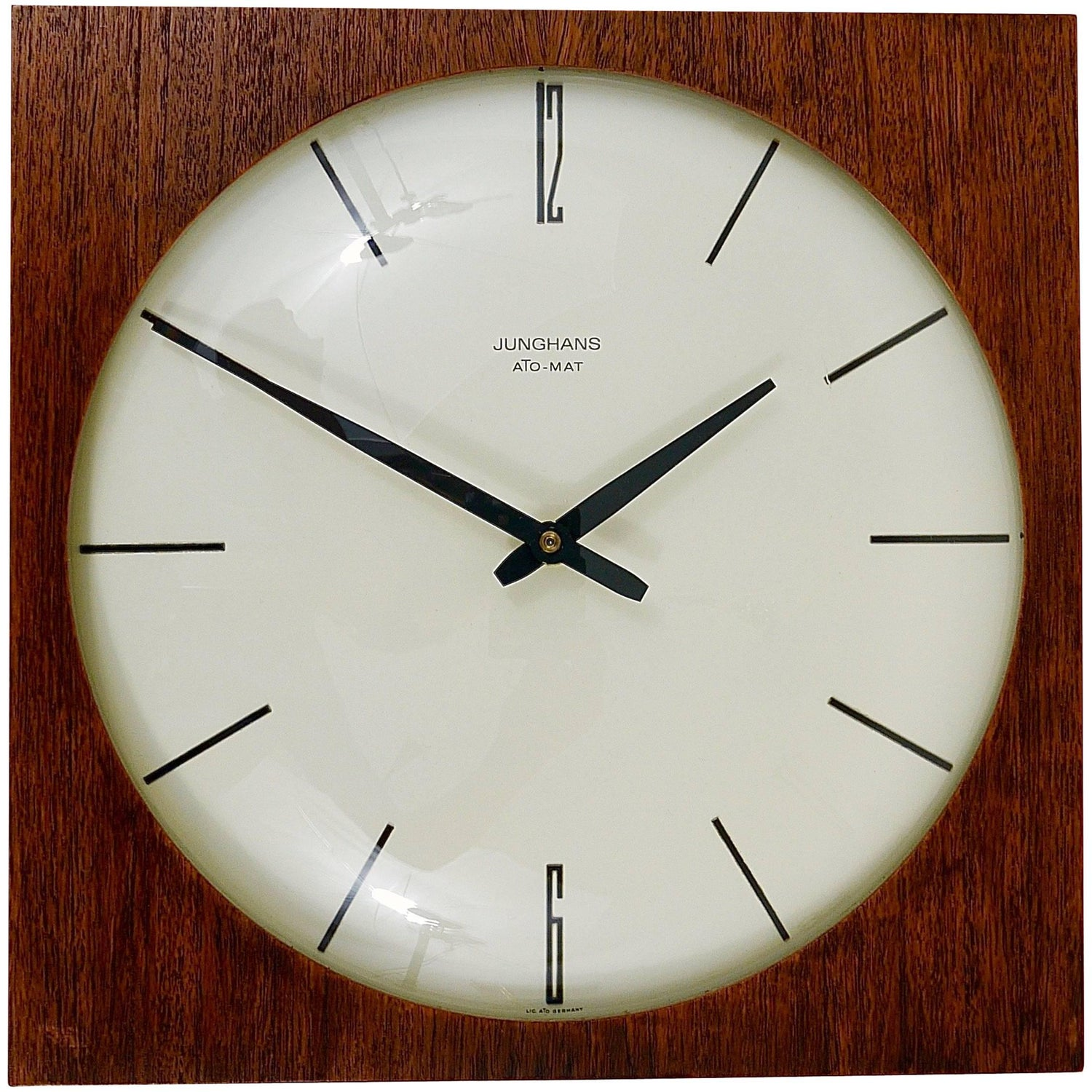 German clocks 192 for sale at 1stdibs beautiful mid century junghans ato mat teak wall clock germany 1950s amipublicfo Image collections
