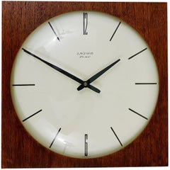 Beautiful Mid-Century Junghans Ato-Mat Teak Wall Clock, Germany, 1950s