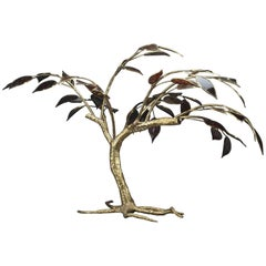 20th Century Gilt Bronze Tree Sculpture