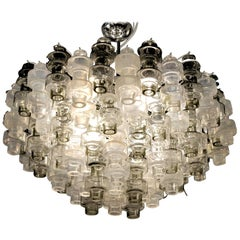 Murano Mid-Century Manubri ChandelIrier, Iridized and Gray Glass,  Seguso 1990s