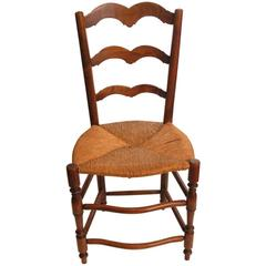 Late 19th Century Ladder-Back Chair Rush Seat