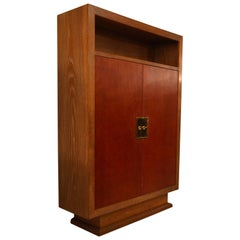 Charles Dudouyt Cabinet in Cerused Oak with Doors Covered in Core-Leather, 1940