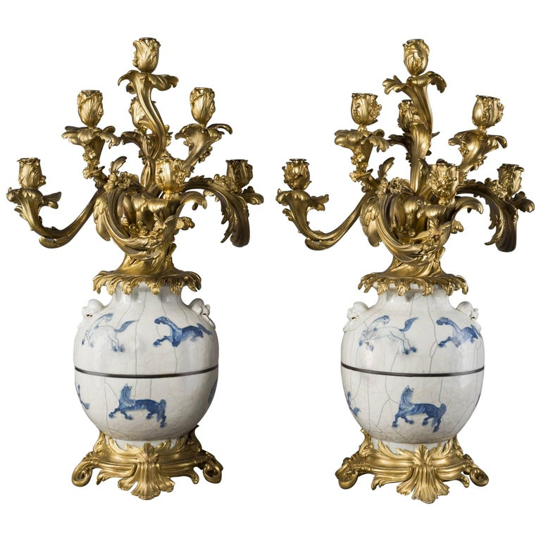 Pair of Chinese Porcelain Vases Mounted as Candelabra, circa 1890
