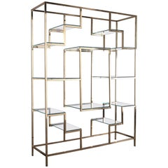 1970s Brass and Glass Bookcase by Kim Moltzer