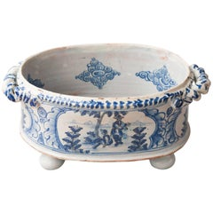 Rare Nevers Two Handled Chinoiserie Blue and White Faience Jardiniere
