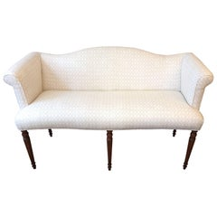 Elegant Vintage Upholstered Settee with Fluted Legs