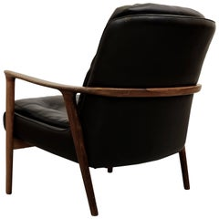 "Rosewood and Black Leather Armchair ""Tunis"" by Inge Andersson, 1960s"