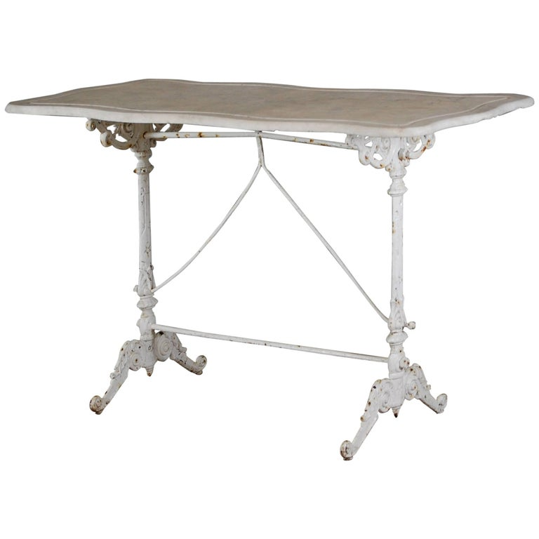 Early 20th Century Cast Iron Marble Top Orangery Table