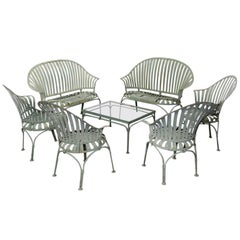 Francois Carre Art Deco Metal Fan Back Patio Set, Settee, Chairs, and Table