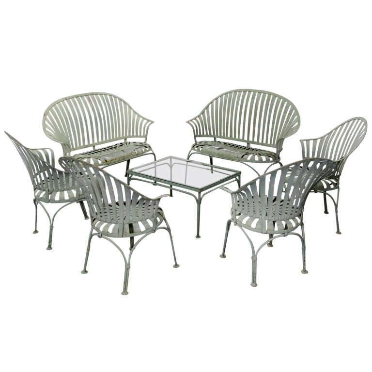 art deco outdoor furniture. Francois Carre Art Deco Metal Fan Back Patio Set, Settee, Chairs, And Table Outdoor Furniture O