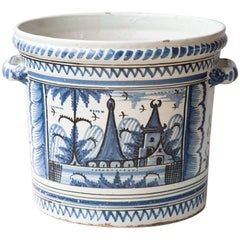 Very Large 18th Century Faience 'Pot A Oranger' Or Orange Pot, Nevers, France