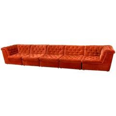 Mid-Century Bright Vermilion Red Velvet 1970s Modular Sofa by Laauser