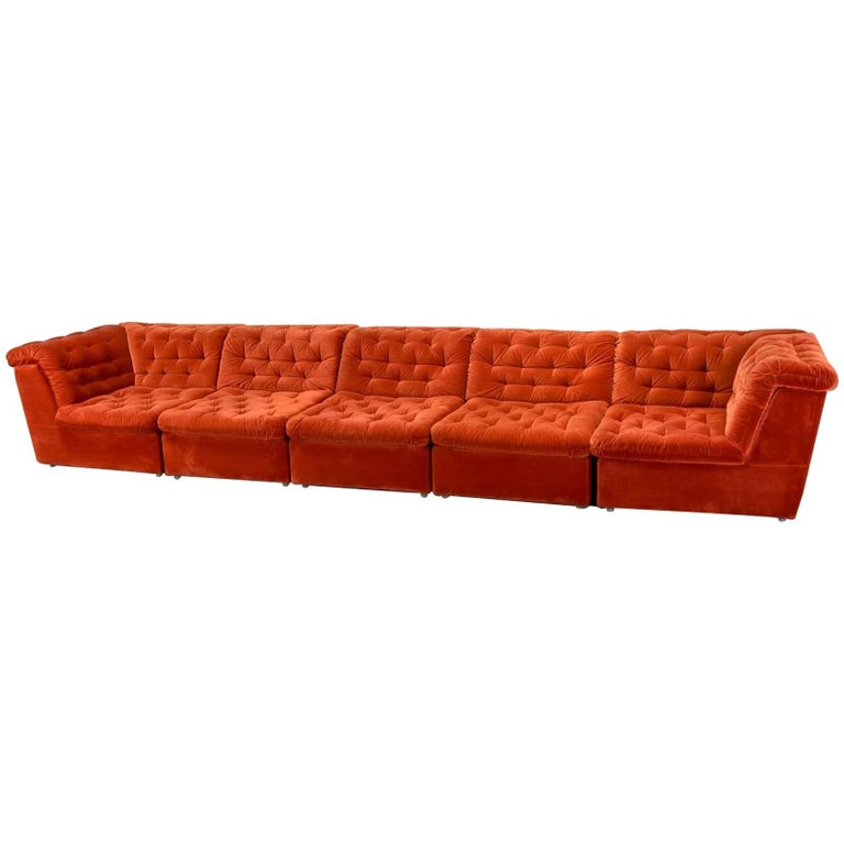 Mid century bright vermilion red velvet 1970s modular sofa for Red velvet sectional sofa