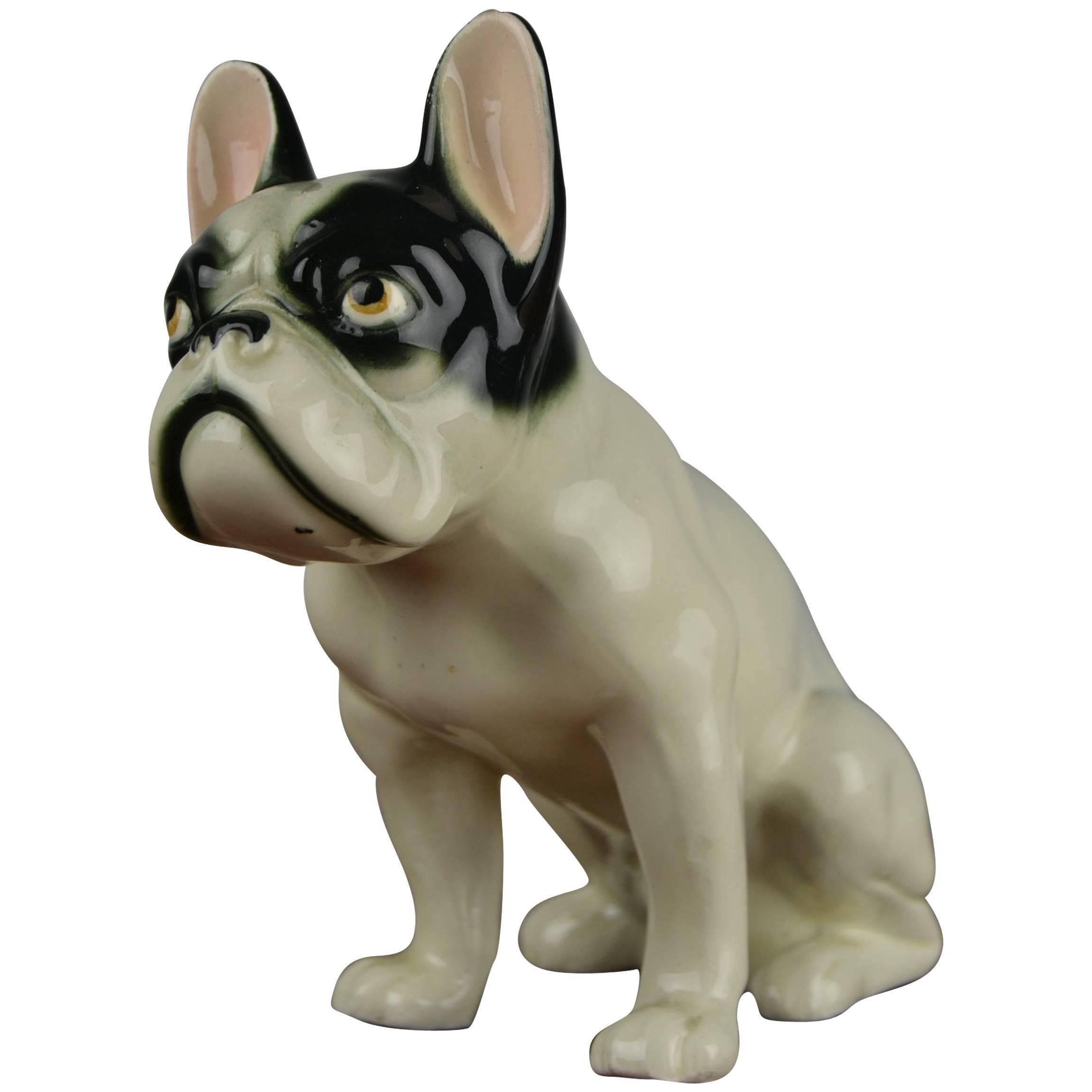 Antique Large Hand-painted Porcelain French Bulldog Statue Figurine Animals Decorative Arts