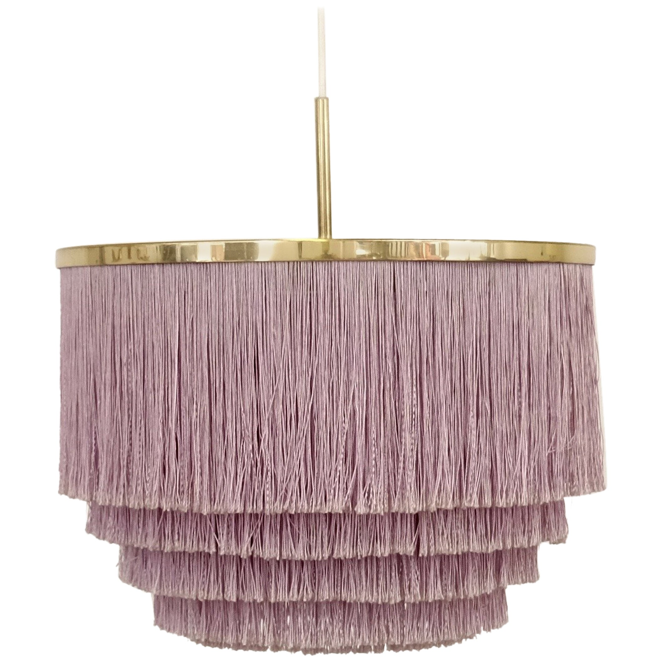 Purple Hans-Agne Jakobsson Silk Fringe Pendant, 1960s