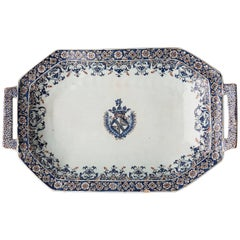 Important Early 18th Century Octagonal Faience Platter or 'Bannette', Rouen