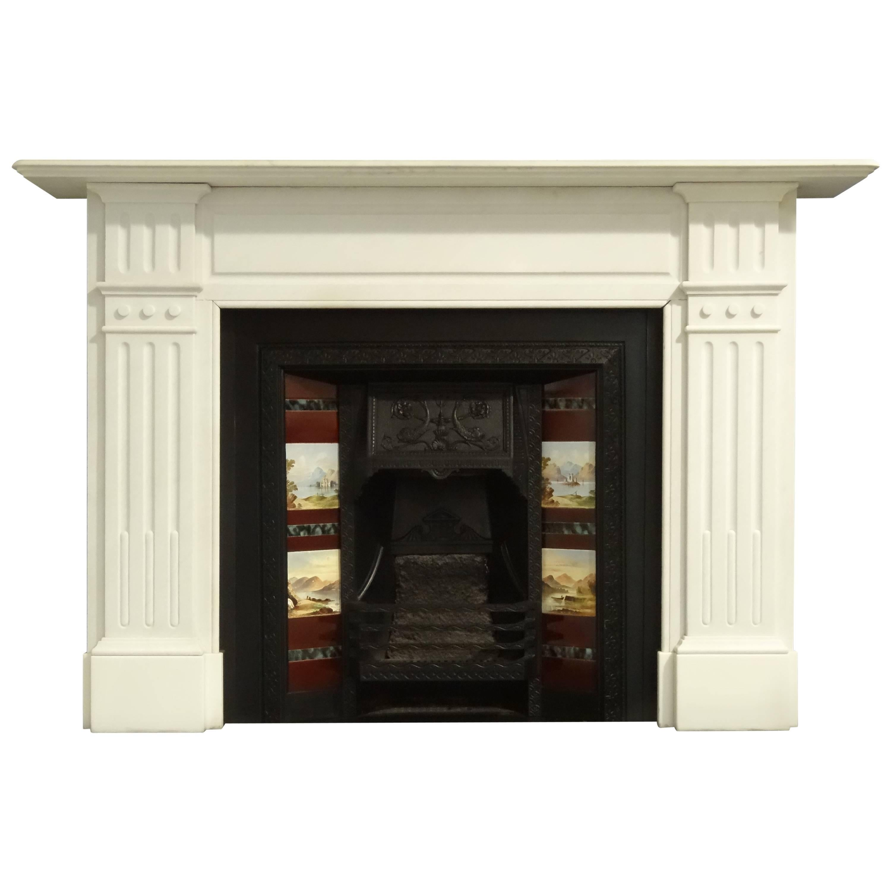 late victorian white statuary marble fireplace surround