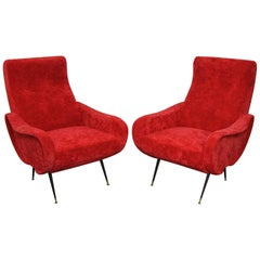 Pair of Italian Style Upholstered Club Chairs in Red Velvet
