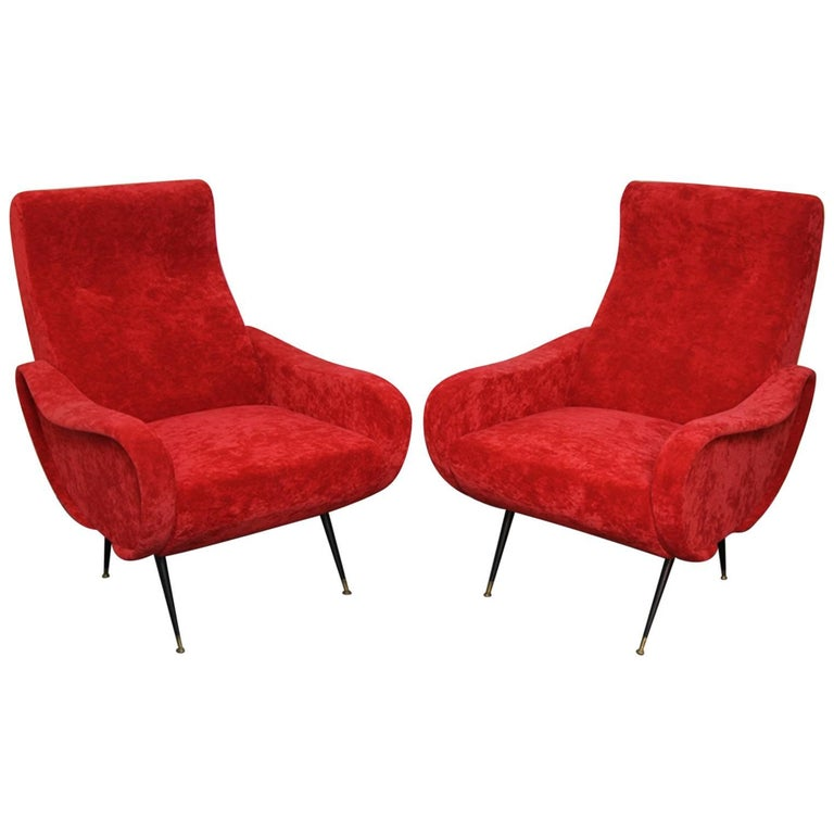 Pair of Italian Style Upholstered Club Chairs in Red Velvet For Sale