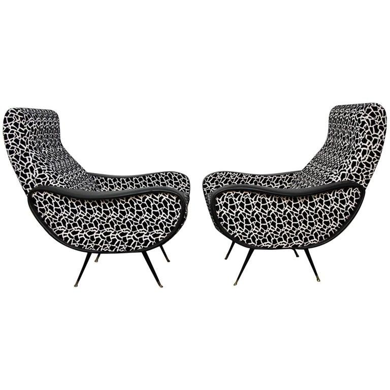Italian Style Club Chairs Mid-Century Modern 1