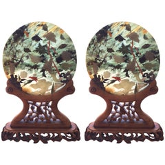 Sublime Pair of Asian Jade Discs on Custom Carved Wood Stands