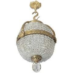 Empire Revival Gilt Bronze and Cut-Glass Pendant Chandelier, French, circa 1910