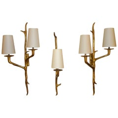 Set of three Wall Sconces by Maison Arlus, 1950s