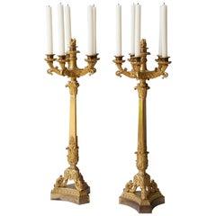 Important Pair of Early 19th Century Six-Light Ormolu Restauration Candelabra