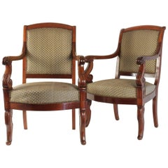 Pair of Armchairs from the Restoration Period Covered in Fabric of Horsehair