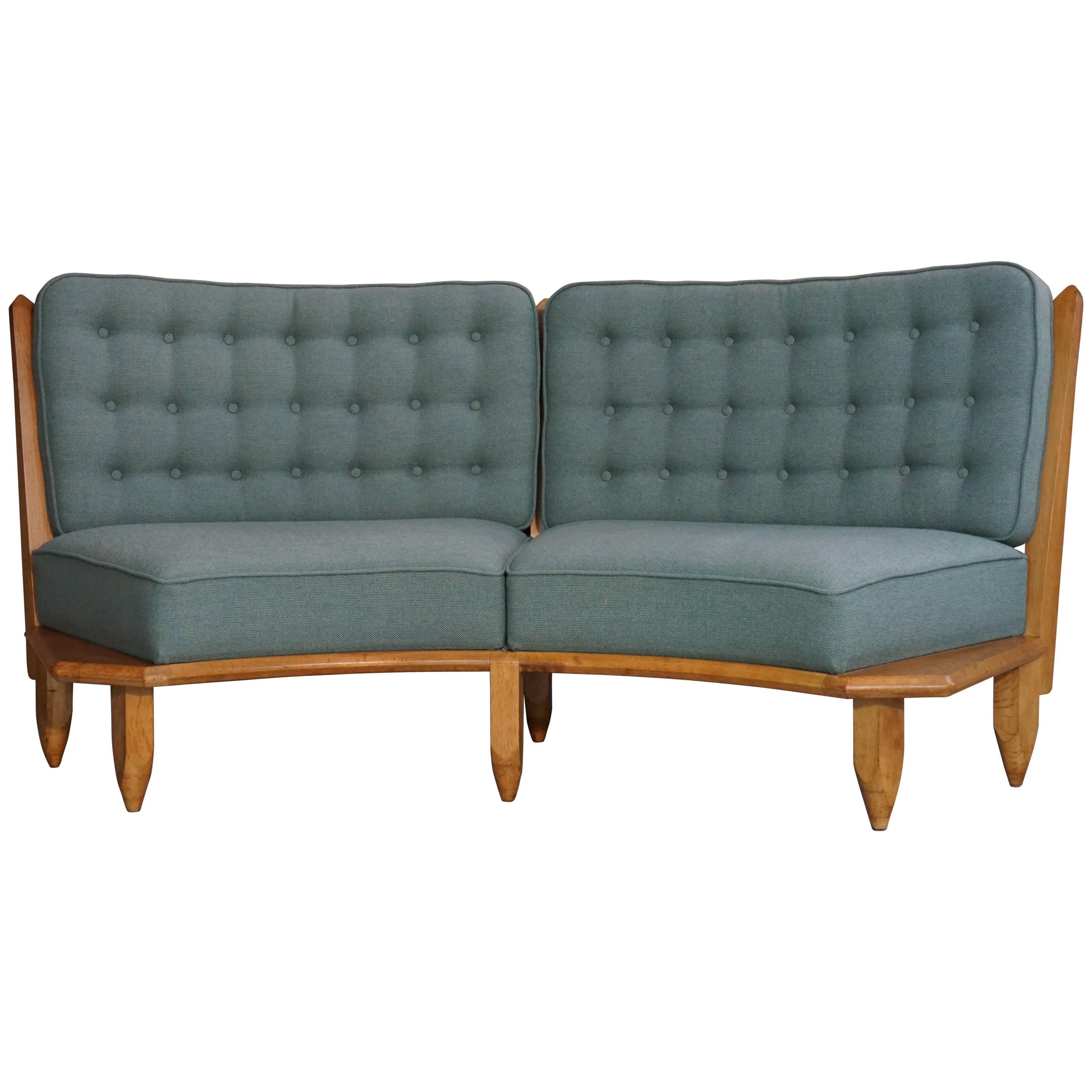 Rounded Basket Sofa French Design Of The 1950s By Guillerme And Chambron  For Sale