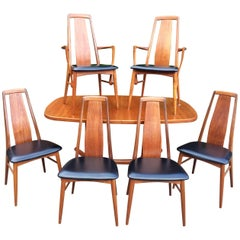 Niels Kofoed for Koefoeds Hornslet Solid Teak Dining Table and Six Chairs Danish