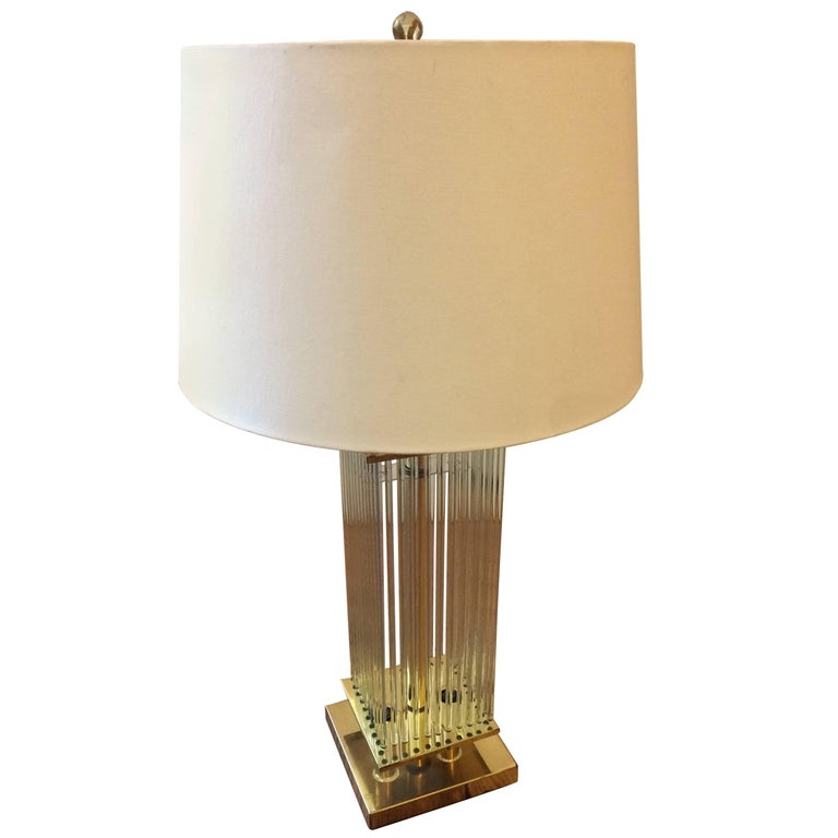 Cool mid century modern lightolier brass and glass rod for Cool table lamps modern