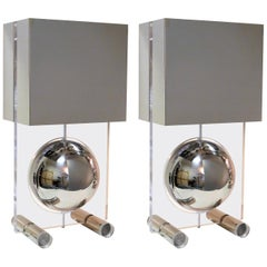 Pair of Stainless Steel and Lucite Modern Lamps