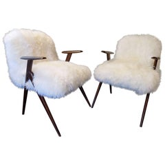 Beautiful Pair of 1960, Italian Sheep Reupholstered Armchairs