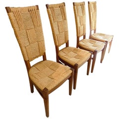Beautiful Set of Four French Rope and Wood Chairs, circa 1960