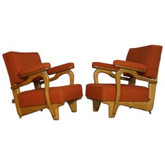 French Design of the 1950s Armchairs by Guillerme et Chambron