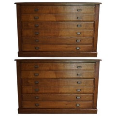 Pair of French Oak Apothecary Cabinets, 1930s