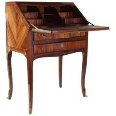 Sloping Desk, Louis XV Style, Precious Wood Veneer, 19th Century