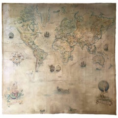 1920-1930 Monumental World Map Hand Painted Oil on Canvas