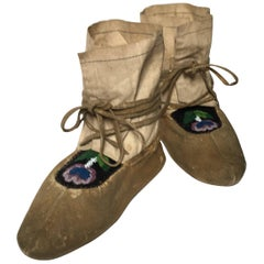 Antique Northern Plains Native American Beaded Mocassins, 19th Century