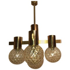 Mid-Century Brass and Tortoise Shell Glass Ball Chandelier