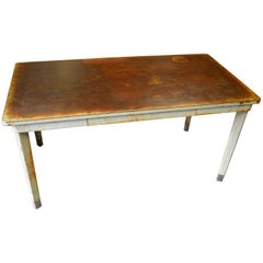 Desk Work Table with Steel Top and Legs, Mid-Century