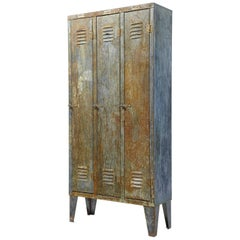 1960s Distressed Industrial Locker Cabinet