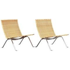 Poul Kjærholm PK-22 Easy Chairs by E. Kold Christensen in Denmark