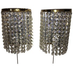 Pair of Crystal Raindrops Sconces