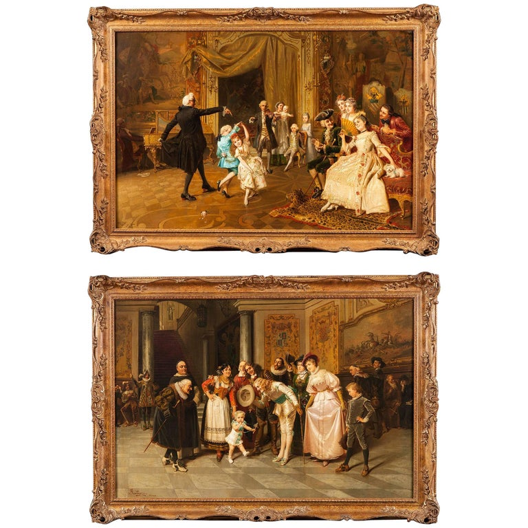 Pair of 19th Century Italian Paintings by Giacomo Mantegazza