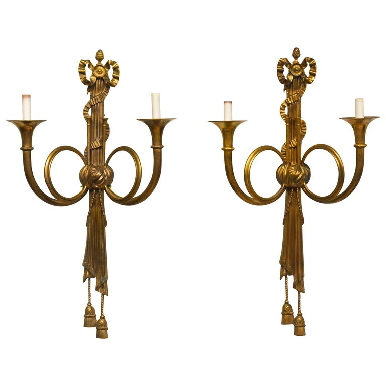 Large 19th Century French Louis XVI Style Bronze Hunting Horn Wall Sconces, Pair