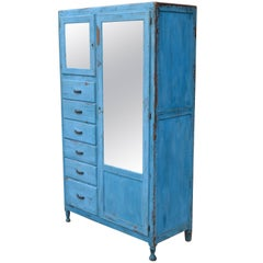 Storage Cupboard Closet, 1930s, in as-Found Blue for Home, Apartment, Cottage