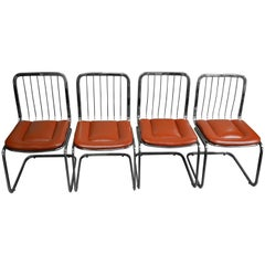 Dining Chairs, Set of Four Mid-Century from Shelby Williams, Rare Chrome Frame